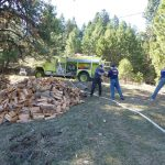 Firewise Community Action Day - moving firewood away from the house before fire season.