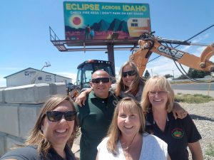 The good folks at the Idaho BLM celebrate the installation of a new billboard warning folks to checks fire regs and not to park on dry grass.