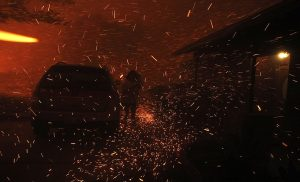 "Flaming brands and embers, sometimes called ""red snow"", are the most common source of WUI home ignitions."