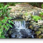 Hardscape and water feature in a firewise landscape design.