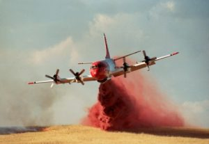 Aerial applications of retardant is a commonly used fire fighting strategy.